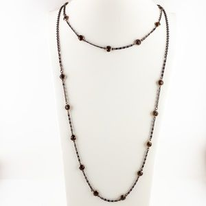 Long Double Layer Amber Coloured Beaded Necklace